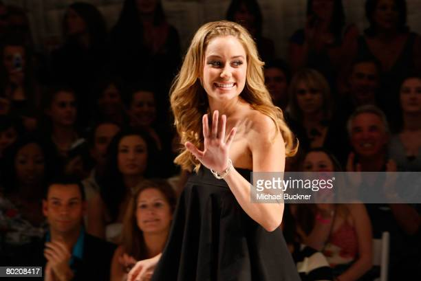 Designer Lauren Conrad poses in the front row at the Lauren Conrad Collection Fall 2008 fashion show during MercedesBenz Fashion Week held at...
