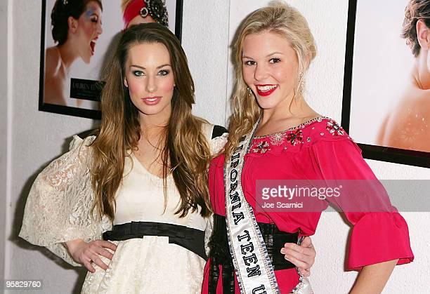 Designer Lauren Elaine and Miss California 2010 Nicole Johnson arrives at La Maison de Fashion for the Lauren Elaine Black Label Accessories...