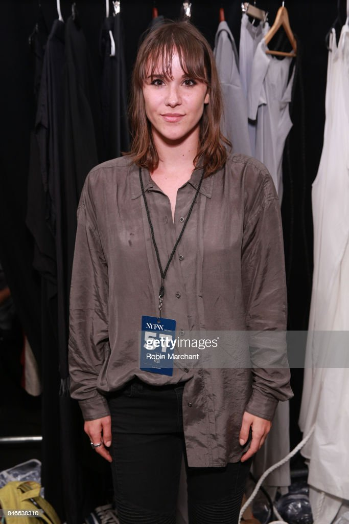 Designer Lauren Perea poses backstage for the RISD fashion show during New York Fashion Week: The Shows at Gallery 1, Skylight Clarkson Sq on September 13, 2017 in New York City.