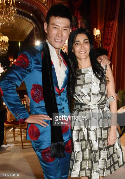 Designer Laurence Xu and actress Fatima Adoum attend the Laurence Xu Haute Couture Fall/Winter 20172018 show as part of Haute Couture Paris Fashion...