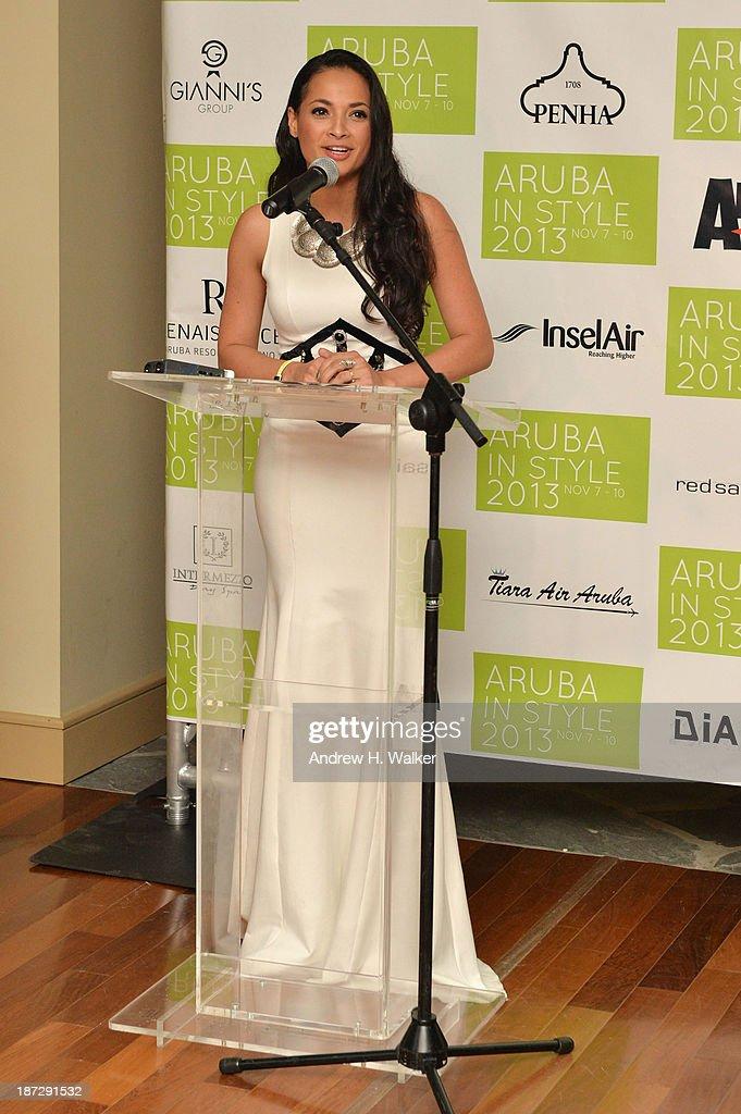 Designer Layana Aguilar speaks at the Aruba In Style 2013 Kick-Off party at Westin Aruba Resort on November 7, 2013 in Aruba, Aruba.