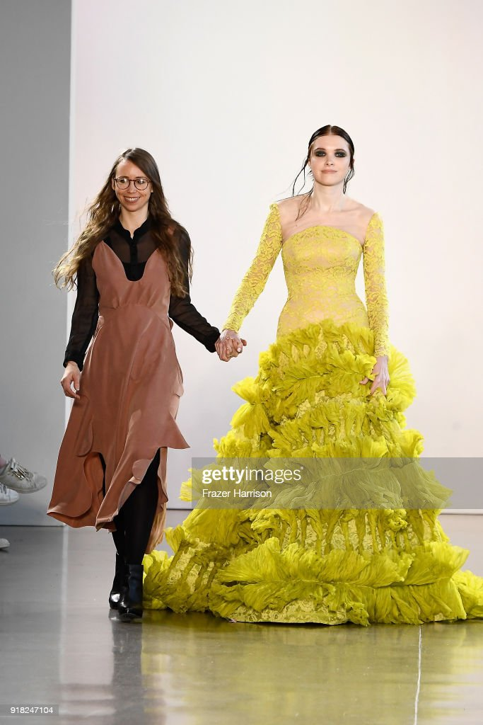 Designer Leanne Marshall (L) and a model walk the runway for Leanne Marshall during New York Fashion Week: The Shows at Gallery II at Spring Studios on February 14, 2018 in New York City.