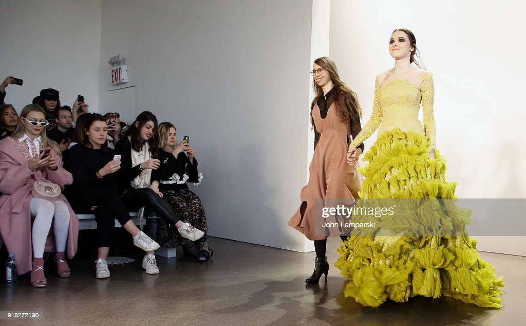 Designer Leanne Marshall and her model walk the runway during the Leanne Marshall show during February 2018 New York Fashion Week: The Shows at Gallery II at Spring Studios on February 14, 2018 in New York City.