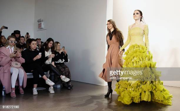 Designer Leanne Marshall and her model walk the runway during the Leanne Marshall show during February 2018 New York Fashion Week The Shows at...