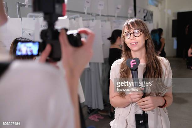 Designer Leanne Marshall backstage at the Leanne Marshall fashion show during New York Fashion Week September 2016 at The Gallery Skylight at...