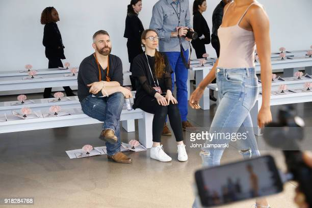 Designer Leanne Marshall makes final preparations before the Leanne Marshall show during February 2018 New York Fashion Week The Shows at Gallery II...