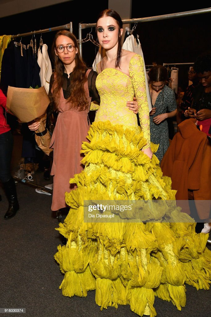 Designer Leanne Marshall poses with a model backstage for Leanne Marshall during New York Fashion Week: The Shows at Gallery II at Spring Studios on February 14, 2018 in New York City.