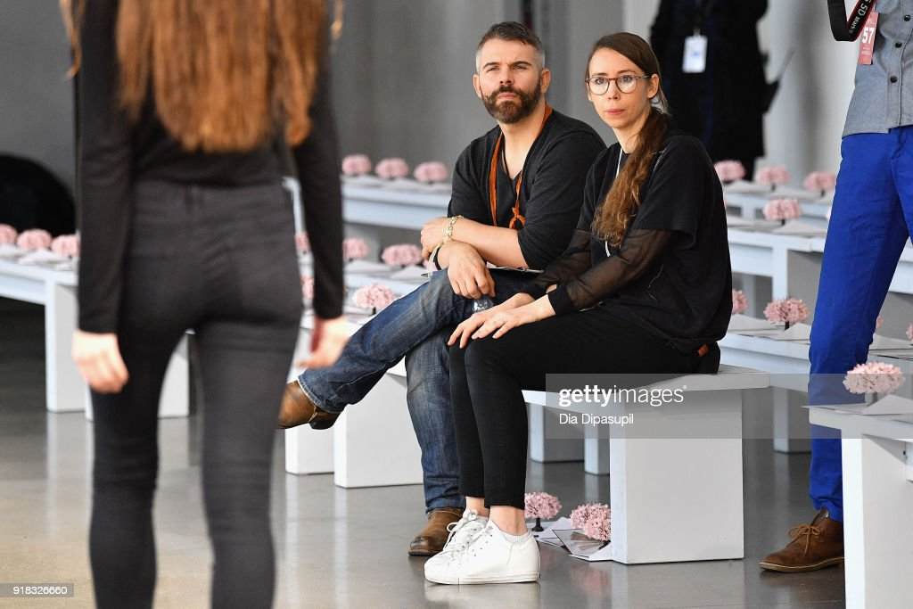 Designer Leanne Marshall watches the rehearsal during the Leanne Marshall front row during New York Fashion Week: The Shows at Gallery II at Spring Studios on February 14, 2018 in New York City.