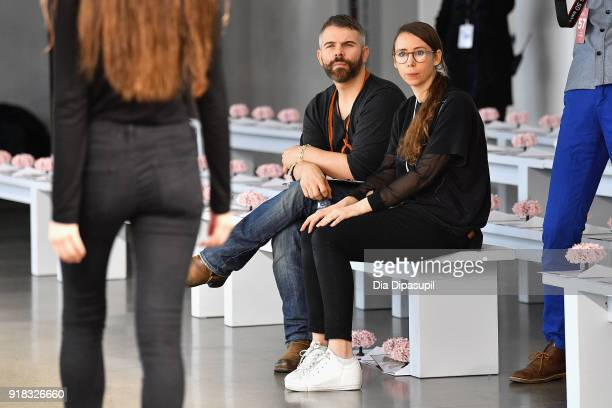 Designer Leanne Marshall watches the rehearsal during the Leanne Marshall front row during New York Fashion Week The Shows at Gallery II at Spring...