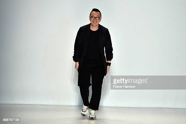 Designer Lee Suk Tae walks the runway at the KAAL ESUKTAE fashion show during MercedesBenz Fashion Week Fall 2014 at Lincoln Center on February 11...