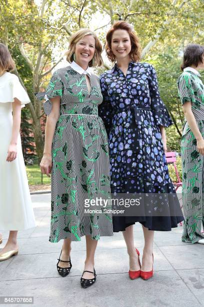 Designer Lela Rose and actress Ellie Kemper attend the Lela Rose Presentation during New York Fashion Week at Washington Square Park on September 11...