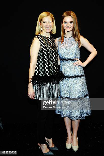 Designer Lela Rose and actress Kerris Dorsey pose backstage at the Lela Rose fashion show during MercedesBenz Fashion Week Fall 2015 at The Pavilion...