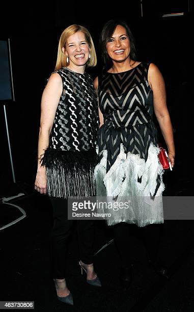 Designer Lela Rose and actress Mariska Hargitay pose backstage at the Lela Rose fashion show during MercedesBenz Fashion Week Fall 2015 at The...
