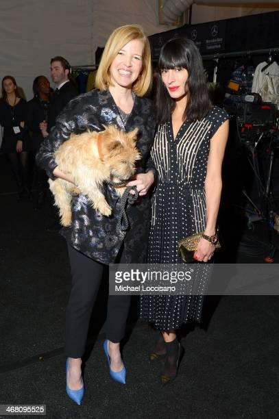 Designer Lela Rose and Athena Calderone backstage at the Lela Rose fashion show during MercedesBenz Fashion Week Fall 2014 at The Salon at Lincoln...