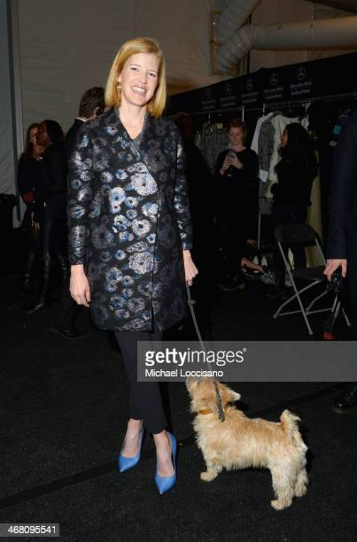 Designer Lela Rose backstage at the Lela Rose fashion show during MercedesBenz Fashion Week Fall 2014 at The Salon at Lincoln Center on February 9...