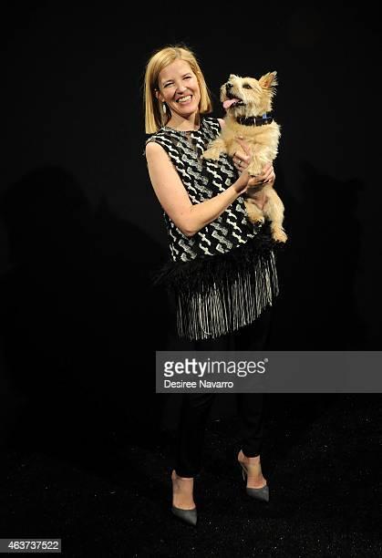 Designer Lela Rose poses backstage at the Lela Rose fashion show during MercedesBenz Fashion Week Fall 2015 at The Pavilion at Lincoln Center on...