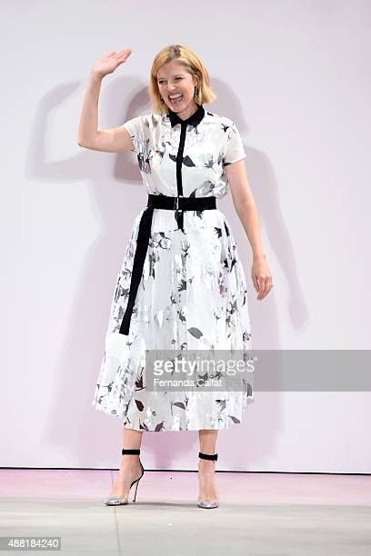 Designer Lela Rose poses on the runway at her Spring 2016 fashion show during New York Fashion Week The Shows at The Gallery Skylight at Clarkson Sq...