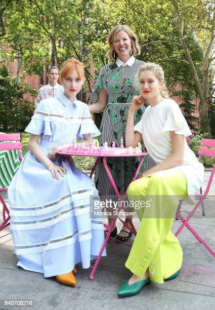 Designer Lela Rose poses with models at the Lela Rose Presentation during New York Fashion Week at Washington Square Park on September 11 2017 in New...