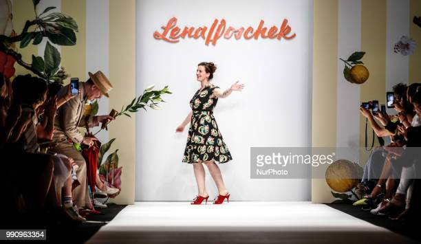 Designer Lena Hoschek acknowledges the applause of the audience after her show during the Berlin Fashion Week Spring/Summer 2019 at ewerk on July 3...