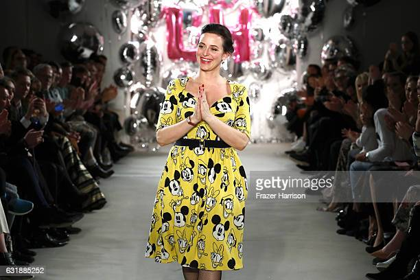 Designer Lena Hoschek acknowledges the audience following her show during the MercedesBenz Fashion Week Berlin A/W 2017 at Kaufhaus Jandorf on...