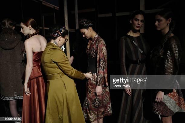 Designer Lena Hoschek is seen backstage ahead of the Lena Hoschek show during Berlin Fashion Week Autumn/Winter 2020 at Kraftwerk Mitte on January 15...