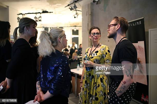Designer Lena Hoschek is seen backstage ahead of the Lena Hoschek show during the MercedesBenz Fashion Week Berlin A/W 2017 at Kaufhaus Jandorf on...