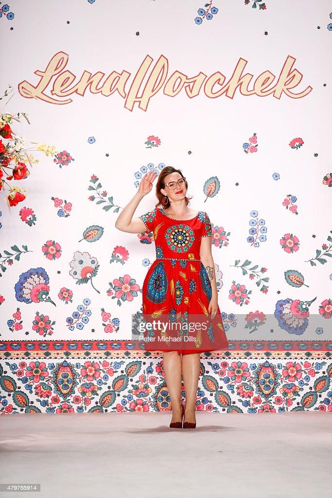 Designer Lena Hoschek is seen on the runway at the Lena Hoschek show during the Mercedes-Benz Fashion Week Berlin Spring/Summer 2016 at Brandenburg Gate on July 7, 2015 in Berlin, Germany.