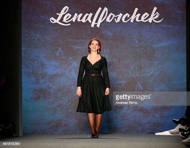 Designer Lena Hoschek on the runway after the Lena Hoschek show during the MercedesBenz Fashion Week Berlin Autumn/Winter 2015/16 at Brandenburg Gate...