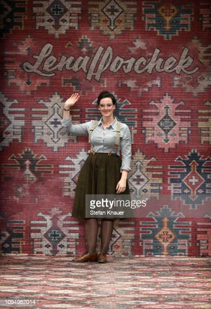 Designer Lena Hoschek on the runway at the Lena Hoschek show during the Berlin Fashion Week Autumn/Winter 2019 at ewerk on January 16 2019 in Berlin...