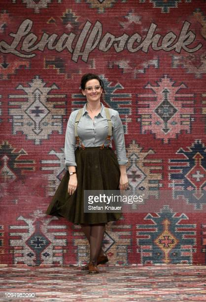Designer Lena Hoschek on the runway at the Lena Hoschek show during the Berlin Fashion Week Autumn/Winter 2019 at ewerk on January 16 2019 in Berlin...