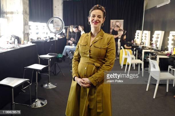 Designer Lena Hoschek poses backstage ahead of the Lena Hoschek show during Berlin Fashion Week Autumn/Winter 2020 at Kraftwerk Mitte on January 15...