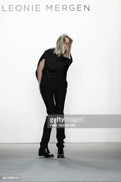 Designer Leonie Mergen acknowledges the audience following her show during the MercedesBenz Fashion Week Berlin A/W 2017 at Kaufhaus Jandorf on...