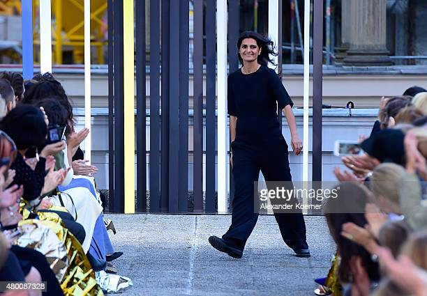 Designer Leyla Piedayesh is seen on the runway after the Lala Berlin Fashion Show Spring/Summer 2016 at Kronprinzenpalais on July 9 2015 in Berlin...