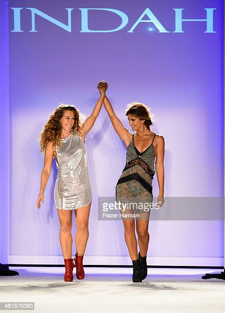 Designer Libby DeSantis and a model walk the runway at the Indah 2016 Collection during SWIMMIAMI at W South Beach WET on July 19 2015 in Miami Beach...