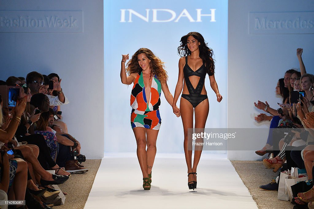 Designer Libby DeSantis walks the runway at the Indah show during Mercedes-Benz Fashion Week Swim 2014 at the Raleigh on July 22, 2013 in Miami Beach, Florida.