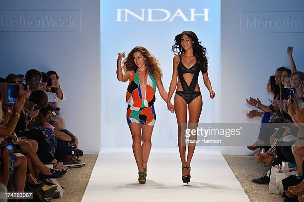 Designer Libby DeSantis walks the runway at the Indah show during MercedesBenz Fashion Week Swim 2014 at the Raleigh on July 22 2013 in Miami Beach...