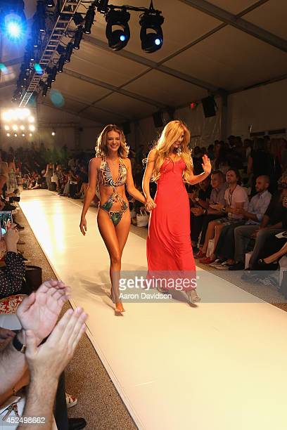 Designer Liliana Montoya and model walk the runway at the Liliana Montoya Swim show during MercedesBenz Fashion Week Swim 2015 at The Raleigh on July...