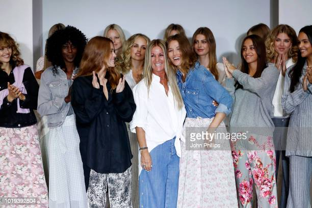 Designer Line Varner and models acknowledge the applause of the audience after the Line of Oslo show during Oslo Runway SS19 at Bankplassen 4 on...