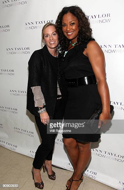 Designer Lisa Axelson and professional boxer Layla Ali pose backstage after the Ann Taylor See Now Wear Now runway show at The New York Public...