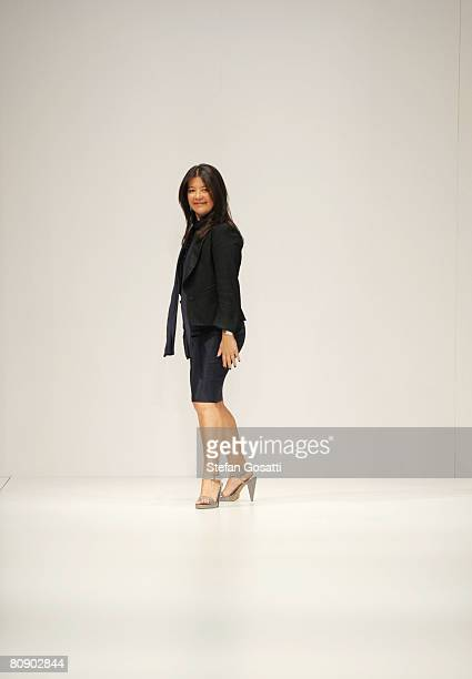 Designer Lisa Ho appears on stage following her catwalk show during the second day of the Rosemount Australian Fashion Week Spring/Summer 2008/09...