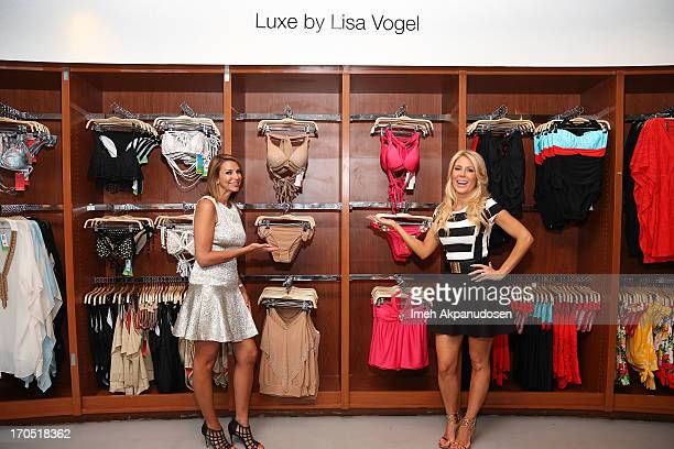 Designer Lisa Vogel and television personality Gretchen Rossi attend the launch of Gretchen Christine For LUXE By Lisa Vogel Swimwear Collection at...