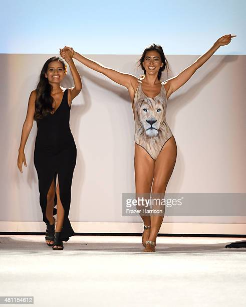 Designer Lisseth Figueroa and a model walk the runway at the San Lorenzo Bikinis 2016 Collection during SWIMMIAMI at W South Beach WET on July 17...