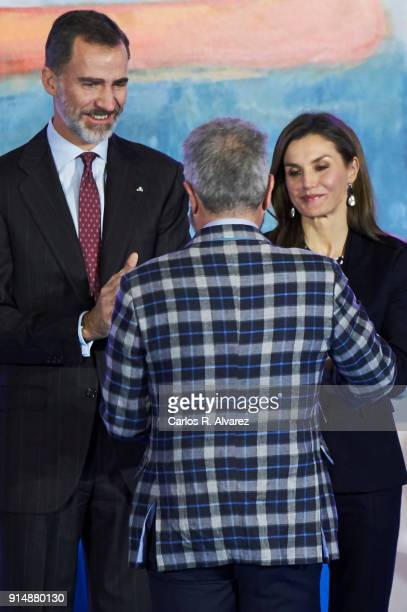 Designer Lorenzo Caprile receives the Gold Medal of Merit in Fine Arts 2016 from King Felipe VI of Spain and Queen Letizia of Spain at the Pompidou...
