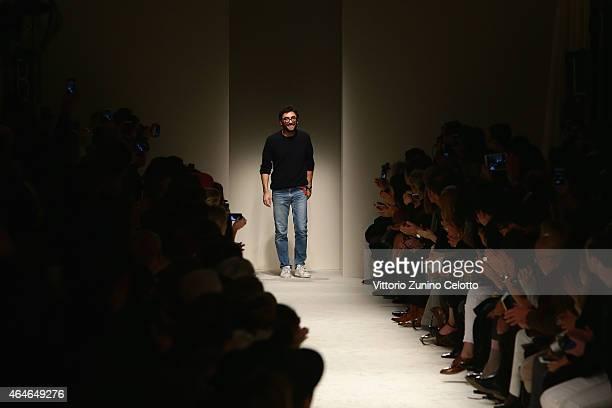 Designer Lorenzo Serafini acknowledges the audience following the Philosophy Di Lorenzo Serafini show during the Milan Fashion Week Autumn/Winter...