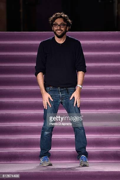 Designer Lorenzo Serafini acknowledges the audience following the Philosophy di Lorenzo Serafini show during Milan Fashion Week Fall/Winter 2016/17...