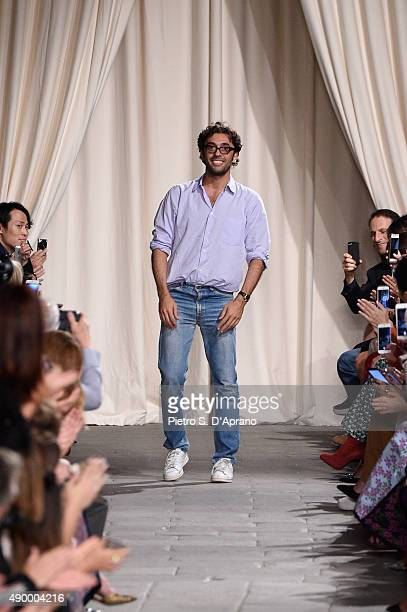 Designer Lorenzo Serafini is seen on the runway during the Philosophy di Lorenzo Serafini fashion show as part of Milan Fashion Week Spring/Summer...