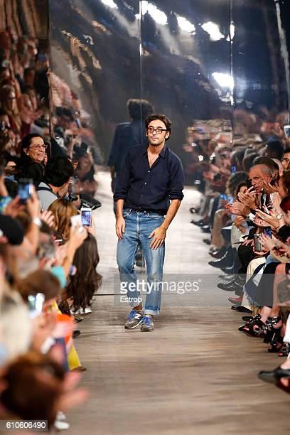 Designer Lorenzo Serafini walks the runway at the Philosophy Di Lorenzo Serafini show Milan Fashion Week Spring/Summer 2017 on September 24 2016 in...