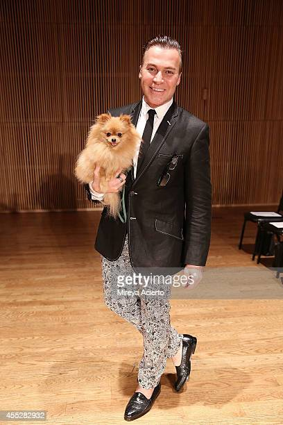 Designer Loris Diran poses at the Loris Diran runway show during MercedesBenz Fashion Week Spring 2015 at Dimenna Center for Classical Music on...