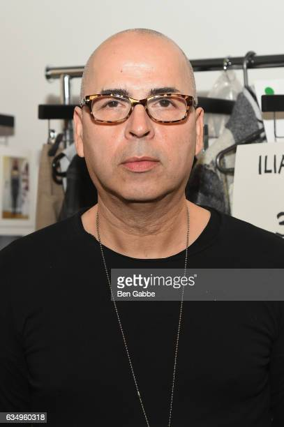 Designer Louis Verdad prepares backstage at the Verdad fashion show during New York Fashion Week at Pier 59 on February 12 2017 in New York City