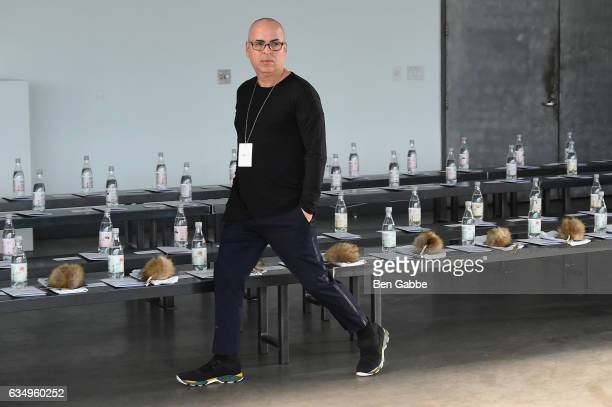 Designer Louis Verdad prepares for the Verdad fashion show during New York Fashion Week at Pier 59 on February 12 2017 in New York City